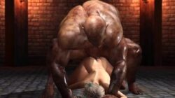 A sexy blonde gets fucked rough by a big monster in the dungeon